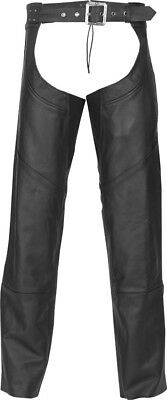 Highway 21 Adult Motorcycle Maverick Black Leather Chaps S-4XL