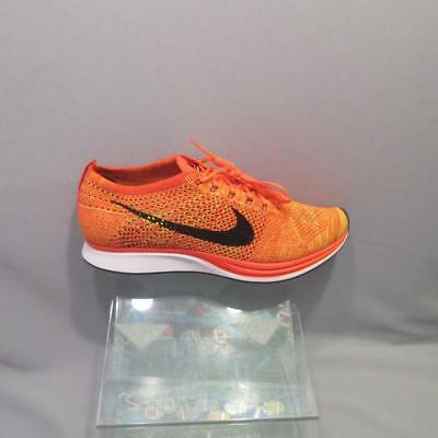8bdda9c29e22c Nike Flyknit Racer 526628 602 BRIGHT CRIMSON BLACK AND VOLT MENS size 12