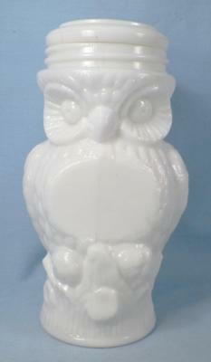 Owl Fruit Jar with American Eagle Lid Milk Glass EAPG Antique Rare Good Cond