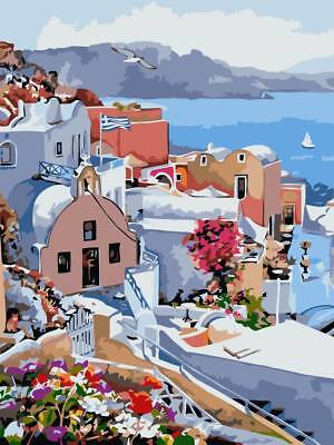 MEDITERRANEAN VISTA PAINTING PAINT BY NUMBERS CANVAS KIT 20 x 16 ins FRAMELESS,