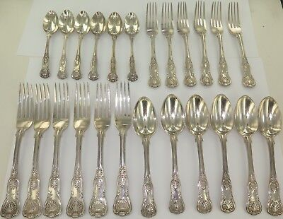 .1860's ENGLISH STERLING SILVER 24 PIECE KINGS PATTERN SET. HENRY HOLLAND. 1.5kg