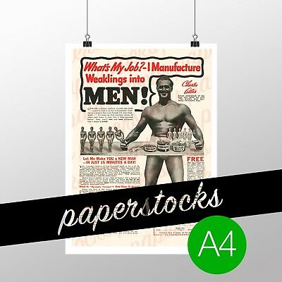 c.1940's CHARLES ATLAS MUSCLE BUILDING PROTEIN VINTAGE ADVERTISING A4 PRINT