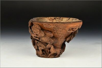 17th / 18th Century Antique Chinese Carved Bamboo Libation Cup Deer & Trees
