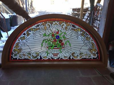 Hand Cut Stained And Jeweled Glass Victorian Style Transon Window - Jhl87