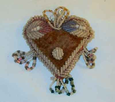 Old Native American Stuffed Cloth Seed Beads Decorated Heart Shaped Pincushion