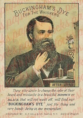c.1800's 'BUCKINGHAM'S DYE FOR THE WHISKERS' BEARD BARBER ADVERTISING A4 PRINT