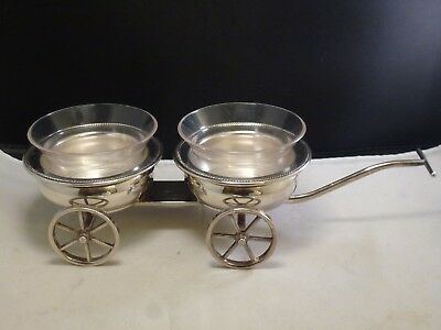 F B Rogers Silver Co 1883 Wheeled Cart Wagon Condiment Dish Vintage
