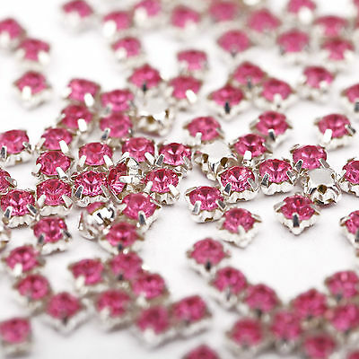 200pcs 4mm Charm Glass Crystal Metal Base Sew on Beads Cloth/Shoes Accessories