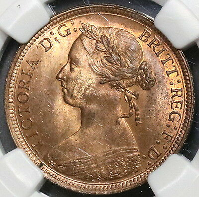 1891 NGC MS 65 1/2 Penny Victoria GREAT BRITAIN Coin Top POP 4/0 (16110101C)
