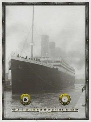 "3 X glossy paper 6"": x 8"" image with actual TITANIC COAL & WOOD pieces, relics"