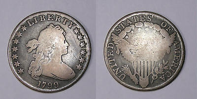 1799 Bust Dollar Great Detail And Problem Free Vg+ Inv#fp-1-22