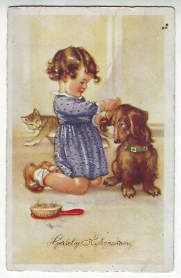 ca1920 the child will comb the dog cat Artist Signed postcard Europe pet Dachshu