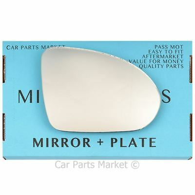 Right Driver side Wing door mirror glass for Smart Forfour 2004-06 +plate