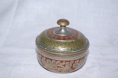 Islamic Middle East Small Brass Silver Red Green  Inlaid Jar & Lid Good Quality