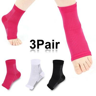 3pair Foot Sleeve Plantar Fasciitis Heel Arch Pain Relieve Compression Sock