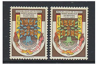 Guinea - 1961 World Refugee sta,ps surcharged in Orange - M/M - SG 266/7