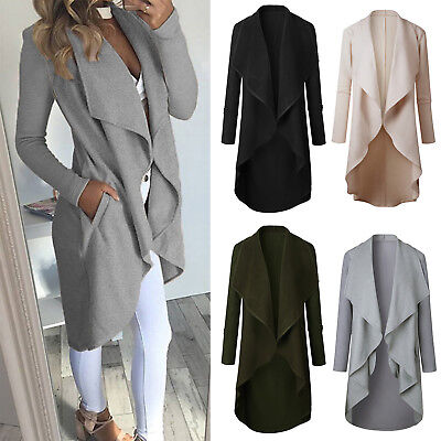 Damen Wasserfall Strickjacke Cardigan Winter Mantel Jacken Longshirt Pullover 46