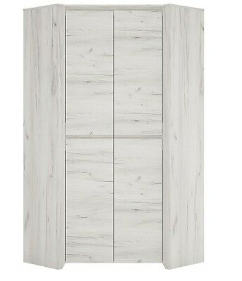 Angel white crafted oak melamine bedroom furniture corner fitted wardrobe