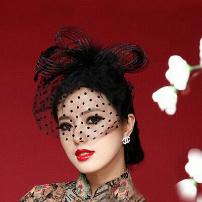 Elegant Lady Top Net Mesh Birdcage Veil Feather Fascinator Hairpin Hat Clip LA