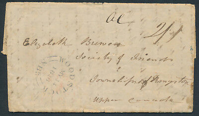 1846 SFL Wilmot NS to Kingston UC, 2/1 Rate, Backstamps, 4 Page Family Letter