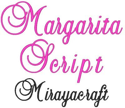 Machine Embroidery Design : Margarita Script, Fast & Free Emailing Worldwide