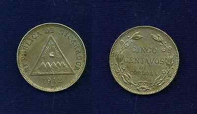 Nicaragua  1912  5 Centavos Coin   Almost Uncirculated