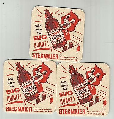 """Lot Of 3 1950's Stegmaier's Gold Medal Beer Coasters  #010 """"The Big Quart"""""""