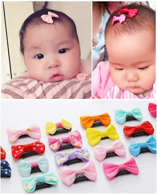 20pcs Kids Baby Girl Bow Ribbon Hair Bow Mini Latch Clips Hair Hairpins UK