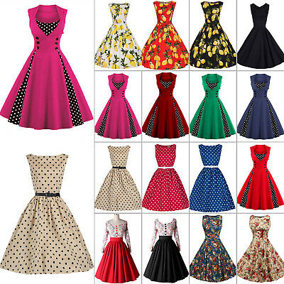 Womens 50s 60s Vintage Rockabilly Pinup Swing Floral Party Formal Dress Skirt A