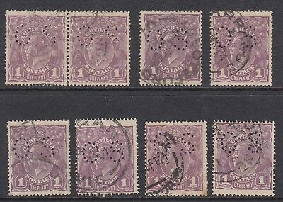 1922 1d VIOLET KGV OFFICIAL, 8 stamps, USED
