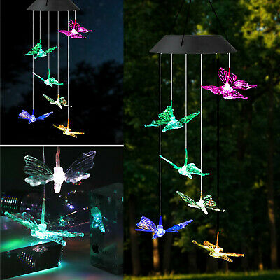 Solar Color Changing LED Butterfly Wind Chimes Home Garden Decor Light Lamp