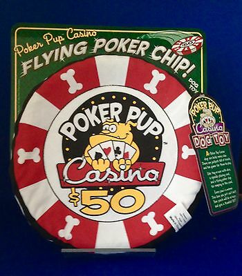 Animal Pet Dog Interactive Frisbe Squeaky Toy Casino Theme Poker Pup New Nwt