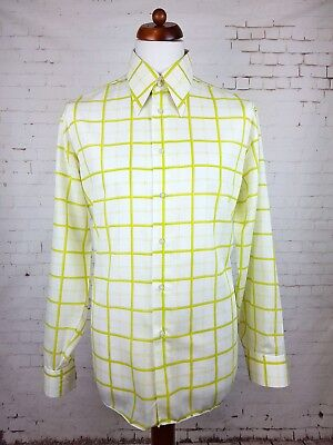 "Vtg 1970s Mint Condition Green Check Polycotton Shirt Mod Disco -17""/XL- ET34"