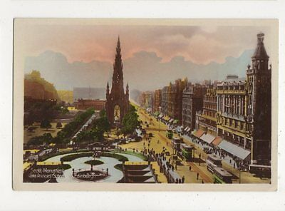 Scott Monument & Princes Street Edinburgh Vintage RP Postcard 645a