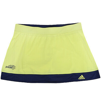 adidas Women's Padel Galaxy Tennis Skort ClimaLite Skirt Shorts Yellow Blue XS