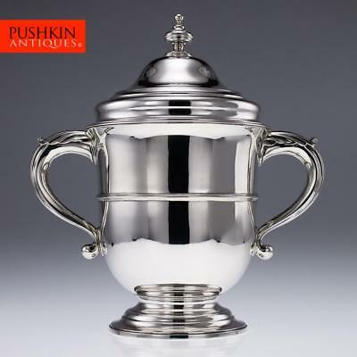 ANTIQUE 19thC VICTORIAN SOLID SILVER LARGE CUP & COVER / COOLER, LONDON c.1896