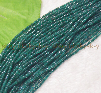 """Green 2x2mm Faceted Emerald Gemstone Roundel Loose Beads 15"""" Strand AA"""
