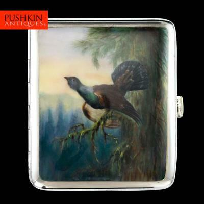 ANTIQUE 20thC AUSTRIAN SOLID SILVER & ENAMEL GROUSE CIGARETTE CASE, VIENNA c1910