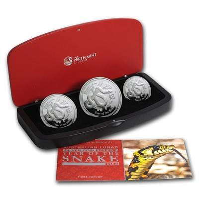 Australia Proof 3 Coin Set Silver Snake 2013 1 Oz 2 Oz 1/2 Oz Monkey Proof P