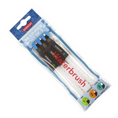 Derwent Multi-pack of 3 waterbrushes watercolour paint brush set fill with water