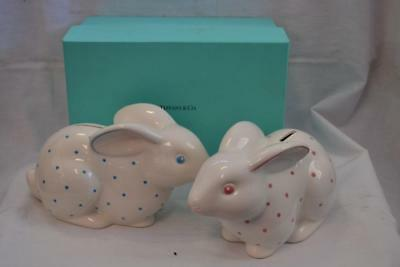 Tiffany & Co Pair of Bunny Rabbit Banks (Made in Italy) Pink/White & Blue/White
