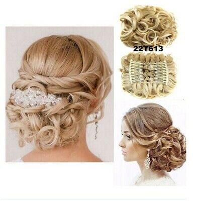 LARGE Comb Clip In Curly Hair Piece Chignon Updo Hairpiece Extension Hair Bun Z