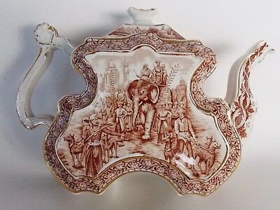 """Very Rare Antique """"Burgess & Leigh"""" Staffordshire Teapot w India Colonial Scenes"""