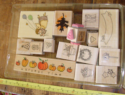 Large lot of craft stamps country americana fall autumn pumpkins angels harvest