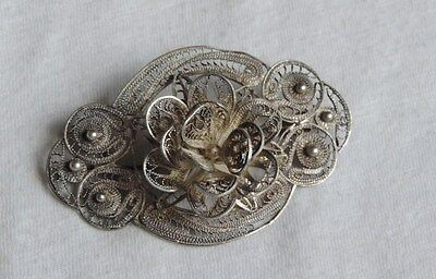Sterling Silver Filigree Vintage Brooch Pin Jewelry Flower Floral (xx860)