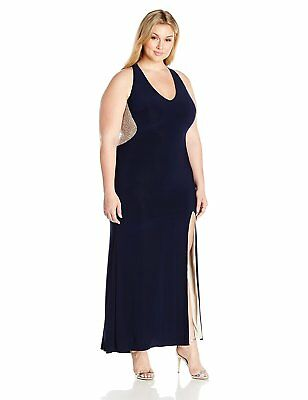 eb2aca2b XSCAPE PLUS SIZE Navy Illusion Beaded Back Evening Gown Dress 18W ...