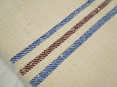 Vtg Antique BROWN & BLUE STRIPE European HEMP LINEN FEED SACK GRAIN BAG 20X44