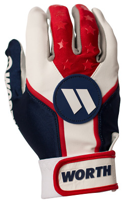 1 Pair Worth WBATGL Patriot Elite Adult X-Large Red/White/Blue Batting Gloves