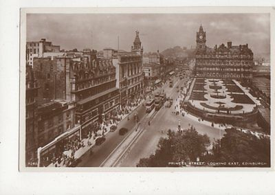 Princes Street Looking West Edinburgh 1951 RP Postcard 438a
