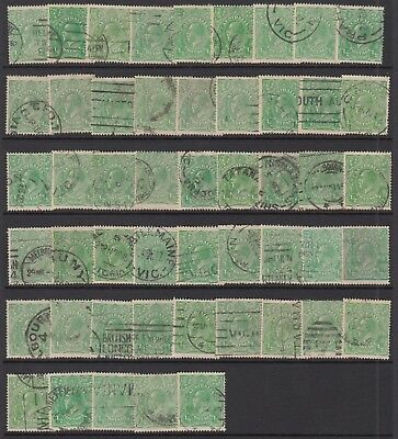 1915-18 1/2d GREEN KGV, Single Watermark, 50 stamps, USED